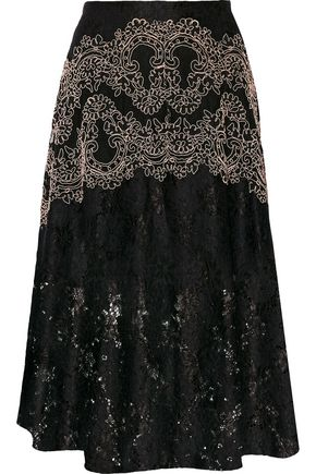 SANDRO Paris Embroidered leaver's lace midi skirt