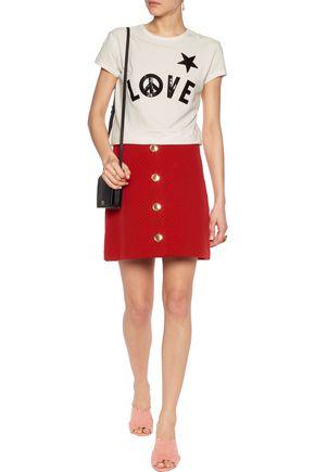 LOVE MOSCHINO Embellished cloque mini skirt