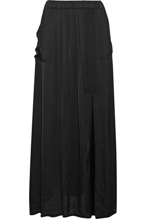 RAQUEL ALLEGRA Grosgrain-trimmed gathered satin midi skirt