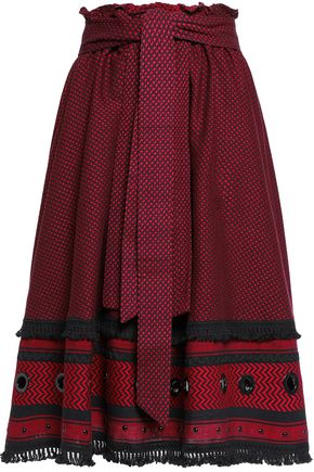 DODO BAR OR Embellished tassel-trimmed two-tone cotton-jacquard skirt