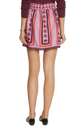 ANNA SUI Printed bamboo-twill skirt