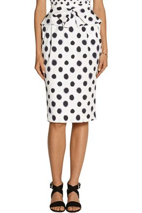 SALONI Anabelle printed embossed taffeta skirt