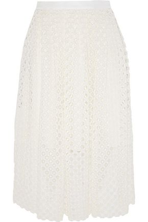 LELA ROSE Crocheted lace midi skirt