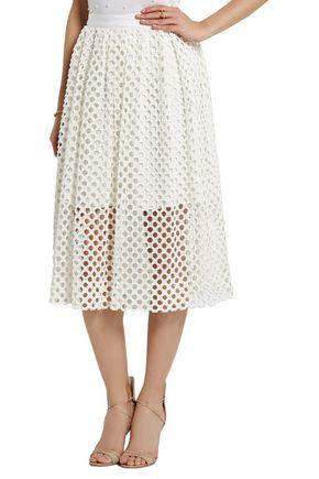 LELA ROSE Crocheted lace midi skirt