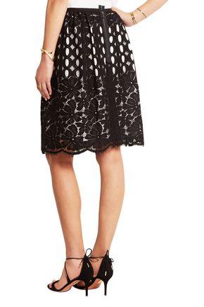 LANVIN Pleated cotton-blend lace skirt