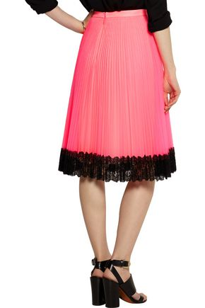 CHRISTOPHER KANE Lace-trimmed neon tulle skirt