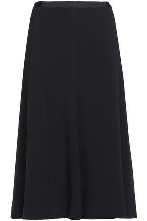 HELMUT LANG Grosgrain-trimmed flared crepe skirt