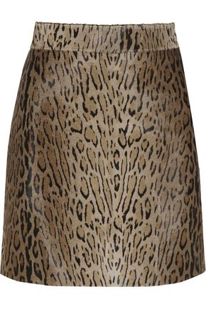 SAINT LAURENT Animal-print calf hair mini skirt