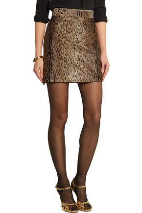 SAINT LAURENT Animal-print calf hair mini skirt