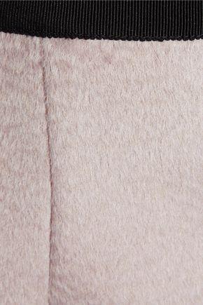 BURBERRY Grosgrain-trimmed llama hair and wool-blend pencil skirt