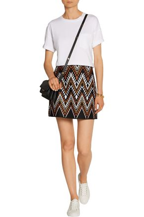 DKNY Embroidered cotton-blend mini skirt