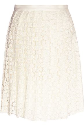 JOSEPH Pleat guipure lace skirt