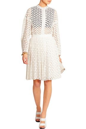 JOSEPH Pleat guipure lace skirt