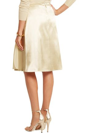 CHRISTOPHER KANE Chiffon-paneled satin skirt