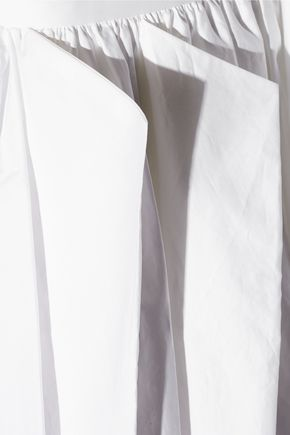 TIBI Pleated cotton-poplin midi skirt