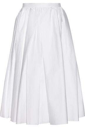 TIBI Pleated cotton-poplin midi skirt