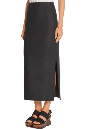 THE ROW Neela wool-blend felt midi skirt