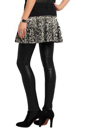 HAIDER ACKERMANN Stretch-wool and leopard-print silk-blend wrap mini skirt