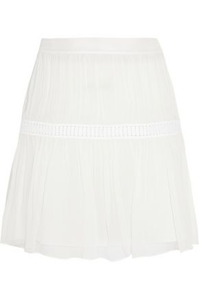 CHLOÉ Guipure lace-trimmed silk-chiffon mini skirt