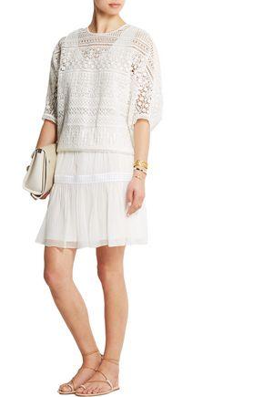 CHLOÉ Guipure lace-trimmed silk-chiffon mini skirt