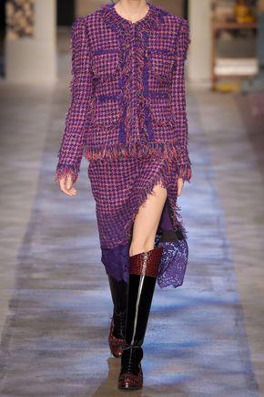 ERDEM Sarah lace-paneled fringed tweed skirt