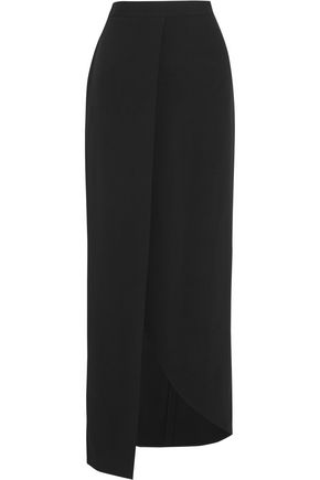 ELIE SAAB Wrap-effect crepe maxi skirt