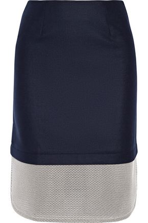 MOTHER OF PEARL Tabley mesh-paneled brushed wool-blend skirt