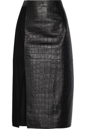 JASON WU Croc-effect leather and wool midi skirt