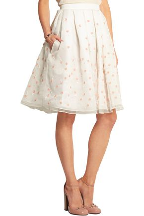 HOLLY FULTON Embellished embroidered silk-organza skirt