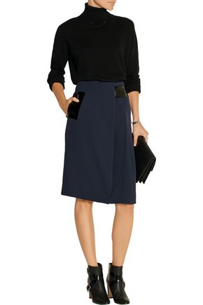 CHRISTOPHER KANE Patent leather-trimmed cady skirt