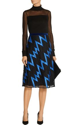 CHRISTOPHER KANE Velvet-trimmed satin-appliquéd lace skirt