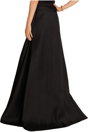 LANVIN Jersey-paneled wool and silk-blend maxi skirt