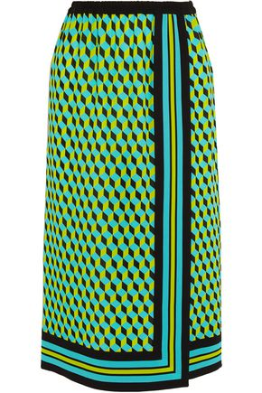 MICHAEL KORS COLLECTION Printed wrap-effect silk-crepe skirt
