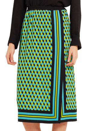 MICHAEL KORS COLLECTION Printed wrap-effect silk-crepe skirt