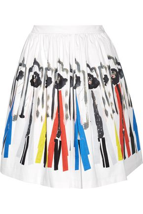 ALICE + OLIVIA Hale printed stretch-cotton skirt