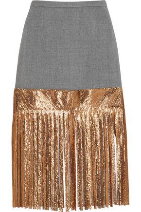 J.CREW Wool and metallic chainmail skirt