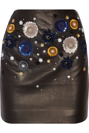 TOPSHOP UNIQUE Linard embellished leather mini skirt