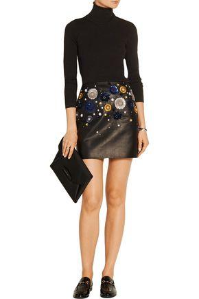 TOPSHOP UNIQUE Linard embellished leather mini skirt