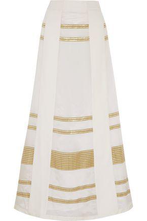 ZEUS + DIONE Leda paneled lamé and silk crepe de chine maxi skirt