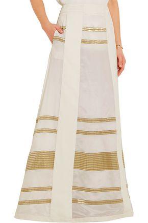 ZEUS + DIONE Leda lamé-paneled silk crepe de chine maxi skirt