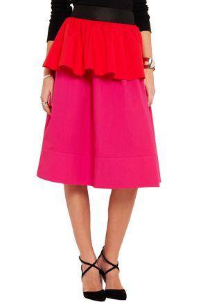 ISA ARFEN Ruffled color-block stretch-cotton poplin skirt