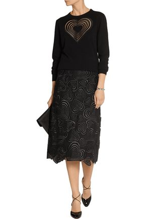 CHRISTOPHER KANE Heart-embroidered guipure lace skirt