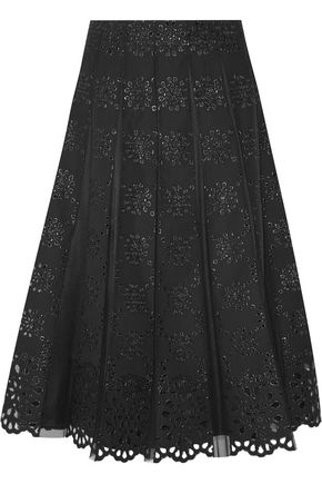 MARC JACOBS Pleated tulle and broderie anglaise cotton skirt