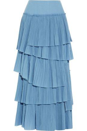 SONIA RYKIEL Tiered plissé-cotton maxi skirt