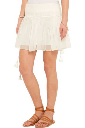 CHLOÉ Pleated silk-crepon mini skirt