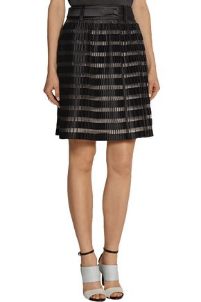 3.1 PHILLIP LIM Pleated satin and organza-paneled skirt
