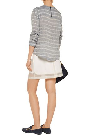 DEREK LAM 10 CROSBY Organza-paneled cotton-blend mini skirt