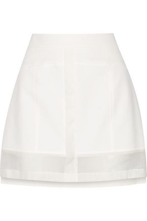 DEREK LAM 10 CROSBY Organza-paneled cotton-blend mini skirt