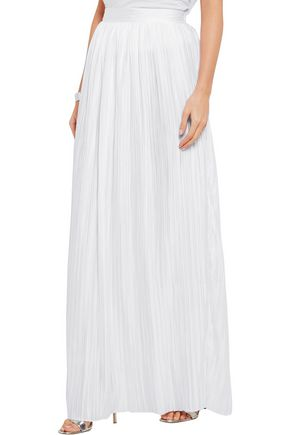 MICHAEL LO SORDO Rose plissé-satin maxi skirt