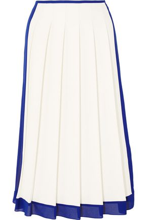 VICTORIA BECKHAM Georgette-trimmed pleated crepe midi skirt